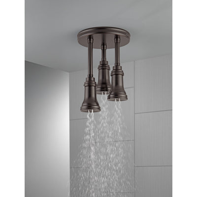 Delta Venetian Bronze Finish 1.75 GPM H2Okinetic Pendant Triple Ceiling Mount Raincan Shower Head D57190RB