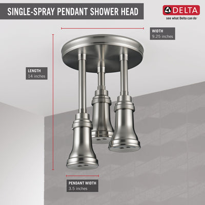 Delta Stainless Steel Finish 1.75 GPM H2Okinetic Pendant Triple Ceiling Mount Raincan Shower Head D57190SS
