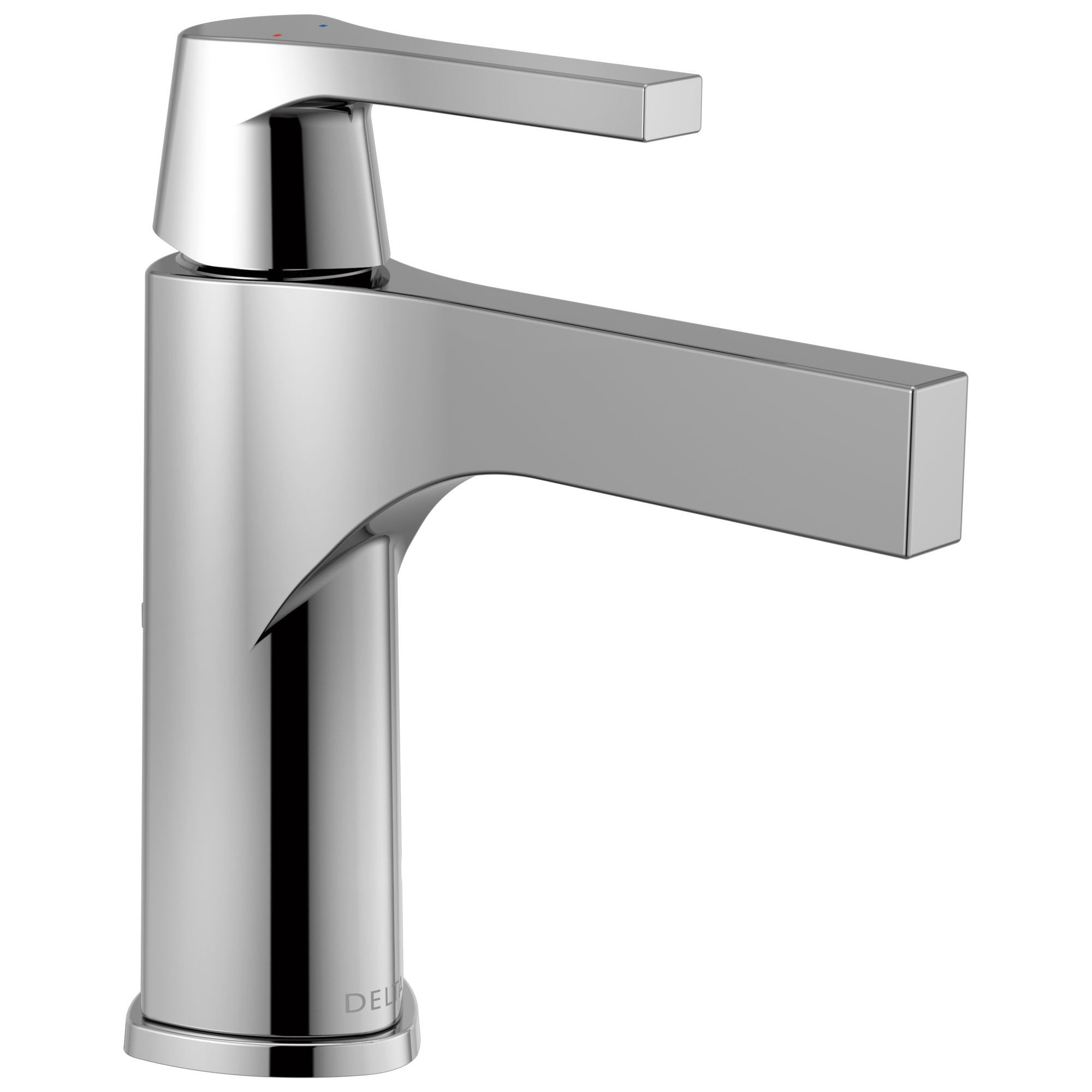 Delta Zura Collection Chrome Finish Single Handle Modern One Hole Bathroom Lavatory Sink Faucet with Metal Pop-up Drain 743892