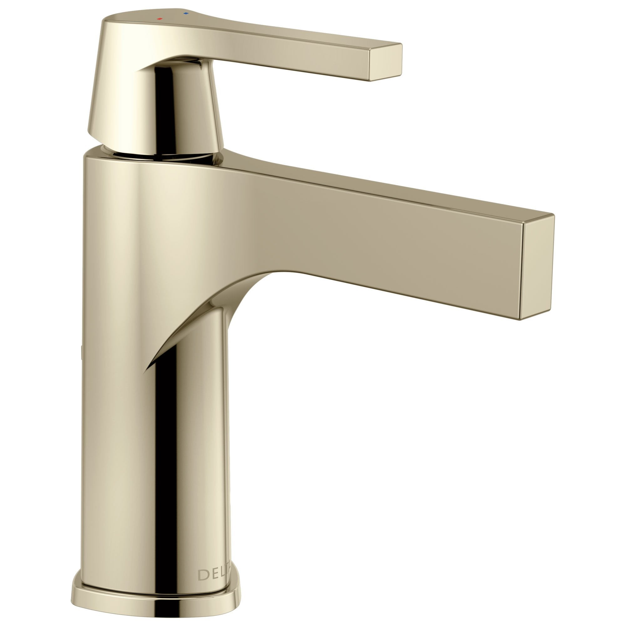 Delta Zura Collection Polished Nickel Finish Single Handle Modern One Hole Bathroom Lavatory Sink Faucet with Metal Pop-up Drain 743893