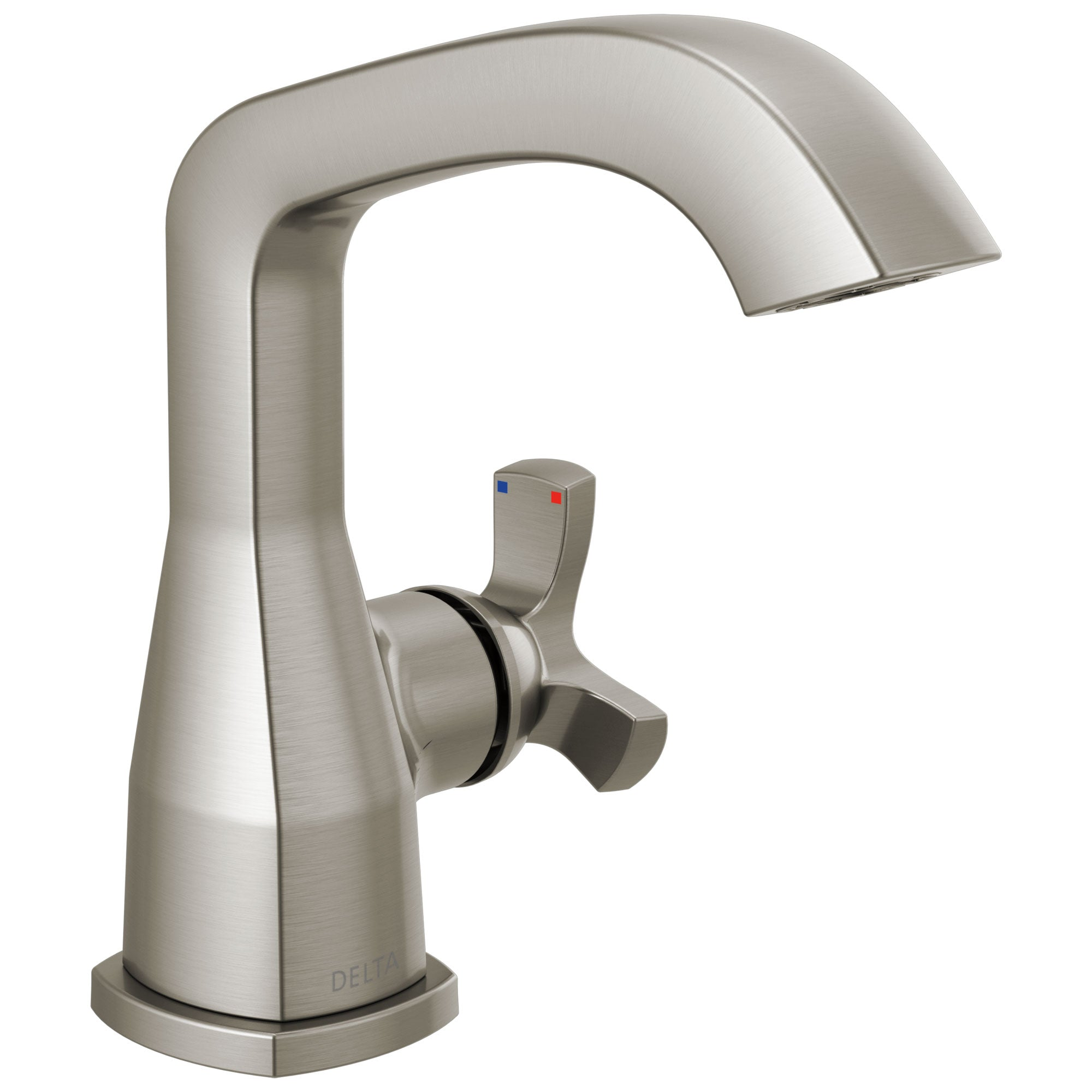 Delta Stryke Stainless Steel Finish Single Hole Bathroom Sink Faucet Includes Helo Cross Handle and Matching Drain D3598V