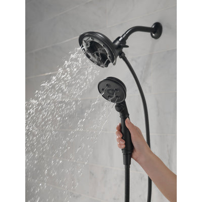 Delta Matte Black Finish In2ition HSSH Hand Shower with MagnaTite and Showerhead Combo D58471BLPK