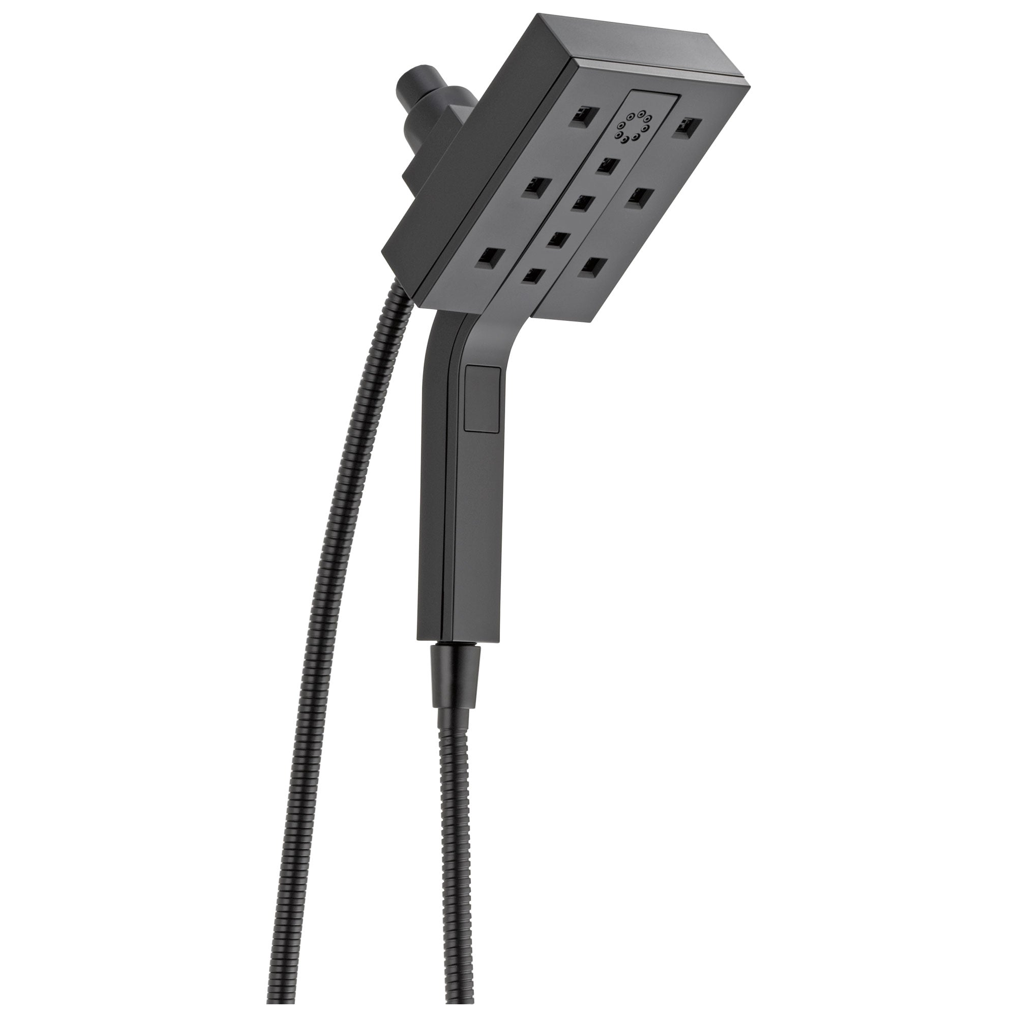 Delta Universal Showering Components Matte Black Finish Modern 4-Setting Shower Arm Mount Two-in-One Hand Shower and Showerhead Combination D58473BL