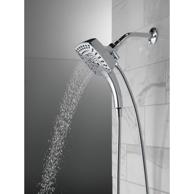 Delta Chrome Finish H2Okinetic In2ition 5-Setting Modern Two-in-One Showerhead Hand Shower Combo D5847425