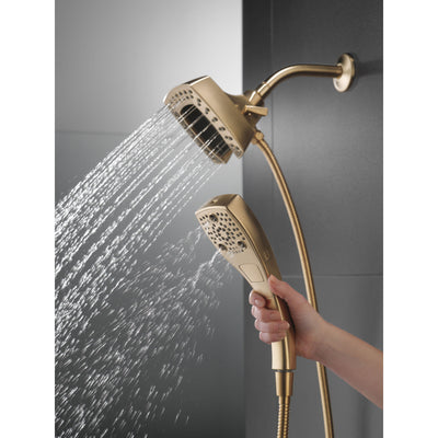 Delta Champagne Bronze Finish H2Okinetic In2ition 5-Setting Modern Two-in-One Showerhead Hand Shower Combo D58474CZ
