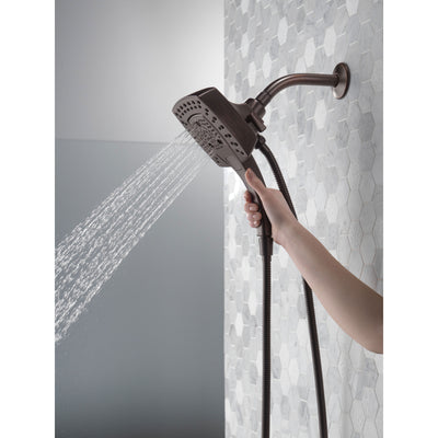 Delta Venetian Bronze Finish H2Okinetic In2ition 5-Setting Modern Two-in-One Showerhead Hand Shower Combo D58474RB25