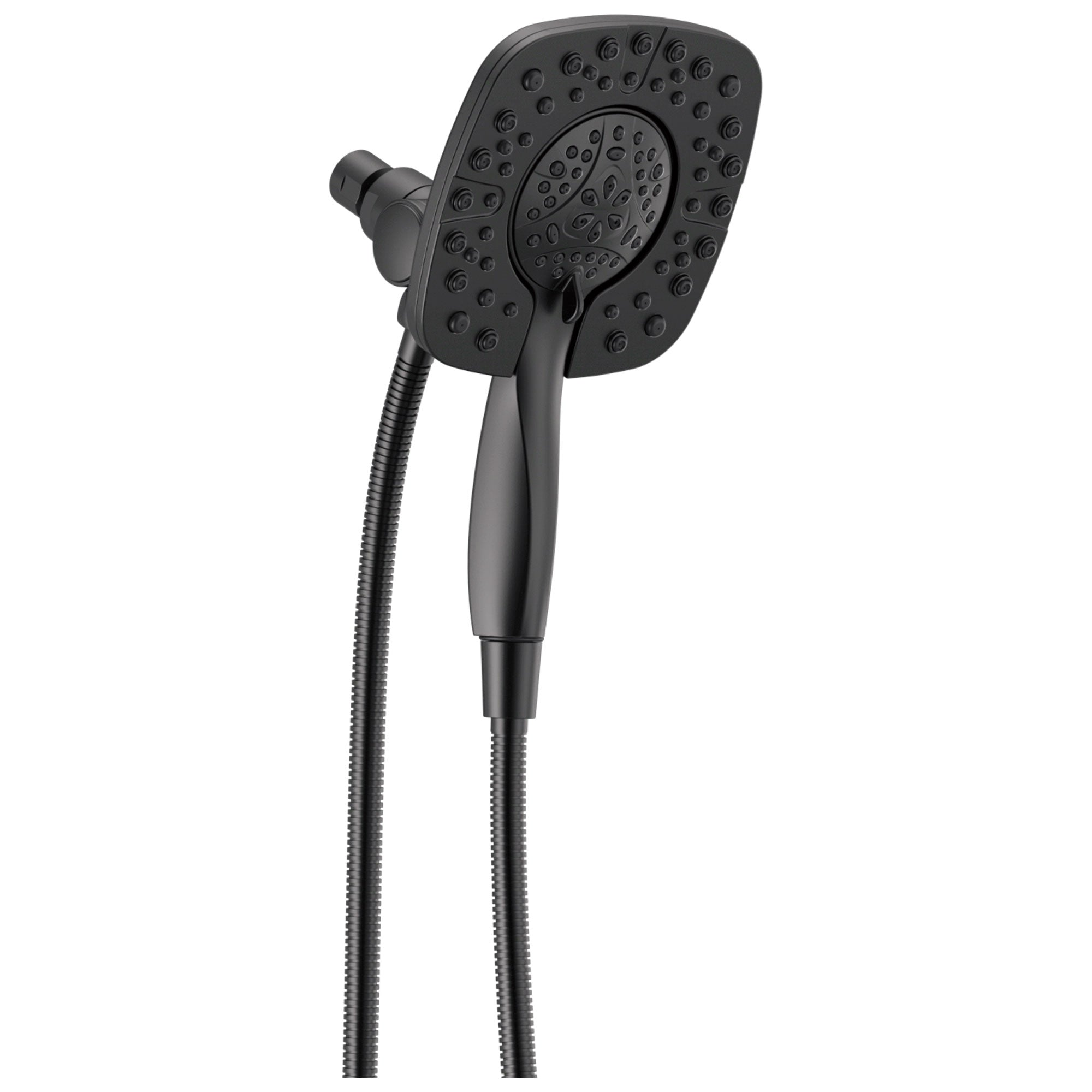 Delta Matte Black Finish In2ition HSSH 1.75 GPM 4-Setting Dual Hand Shower and Square Showerhead Spray D58498BL