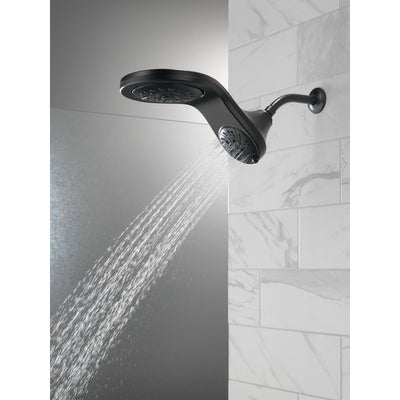 Delta Matte Black Finish HydroRain H2Okinetic 5-Setting Two-in-One Shower Head D58581BLPK