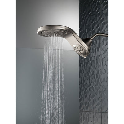 Delta Stainless Steel Finish HydroRain H2Okinetic In2ition 5-Setting Two-in-One Showerhead D58581SSPK