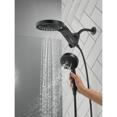Delta Matte Black Finish HydroRain H2Okinetic 5-Setting Two-in-One Shower Head and Hand Spray D58680BL25