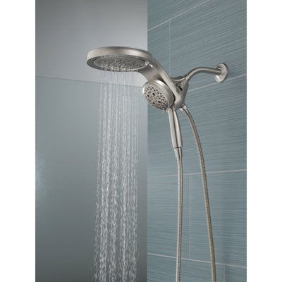 Delta Stainless Steel Finish HydroRain H2Okinetic 5-Setting Two-in-One Shower Head and Hand Spray D58680SS