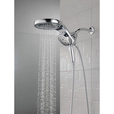 Delta Chrome Finish HydroRain H2Okinetic 5-Setting Two-in-One Shower Head and Hand Spray D58680
