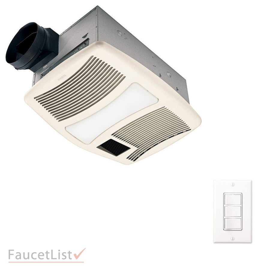 NuTone QTXN110HFLT High Power 110CFM Exhaust Ventilation Bathroom Fan with  Heater and Fluorescent Light INCLUDES 3. Broan Nutone   FaucetList com
