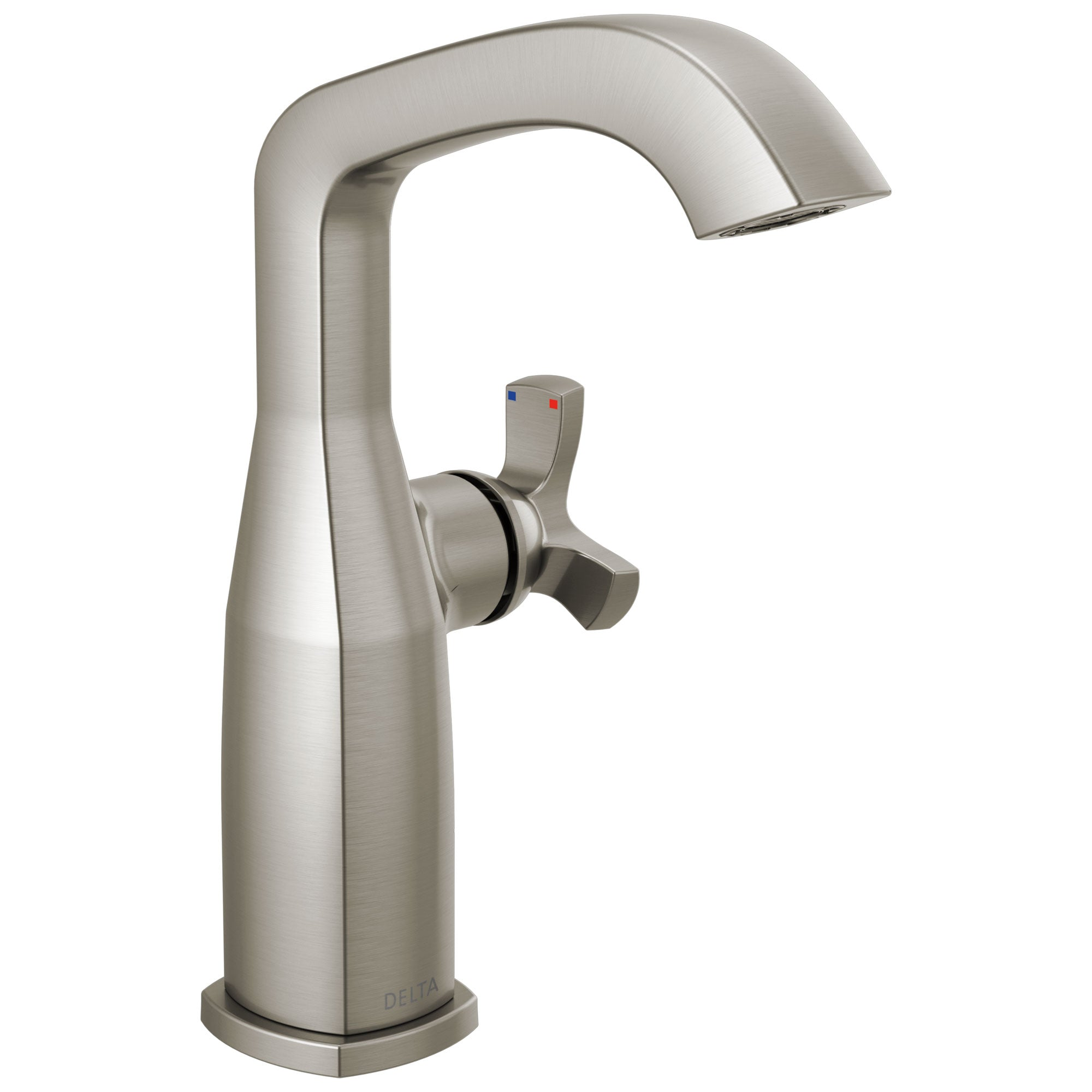 Delta Stryke Stainless Steel Finish Mid-Height Spout Single Hole Bathroom Sink Faucet Includes Helo Cross Handle D3590V