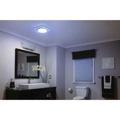 Nutone QTNLEDB Square LunAura 110 CFM Bathroom Fan with Light and LED Nightlight