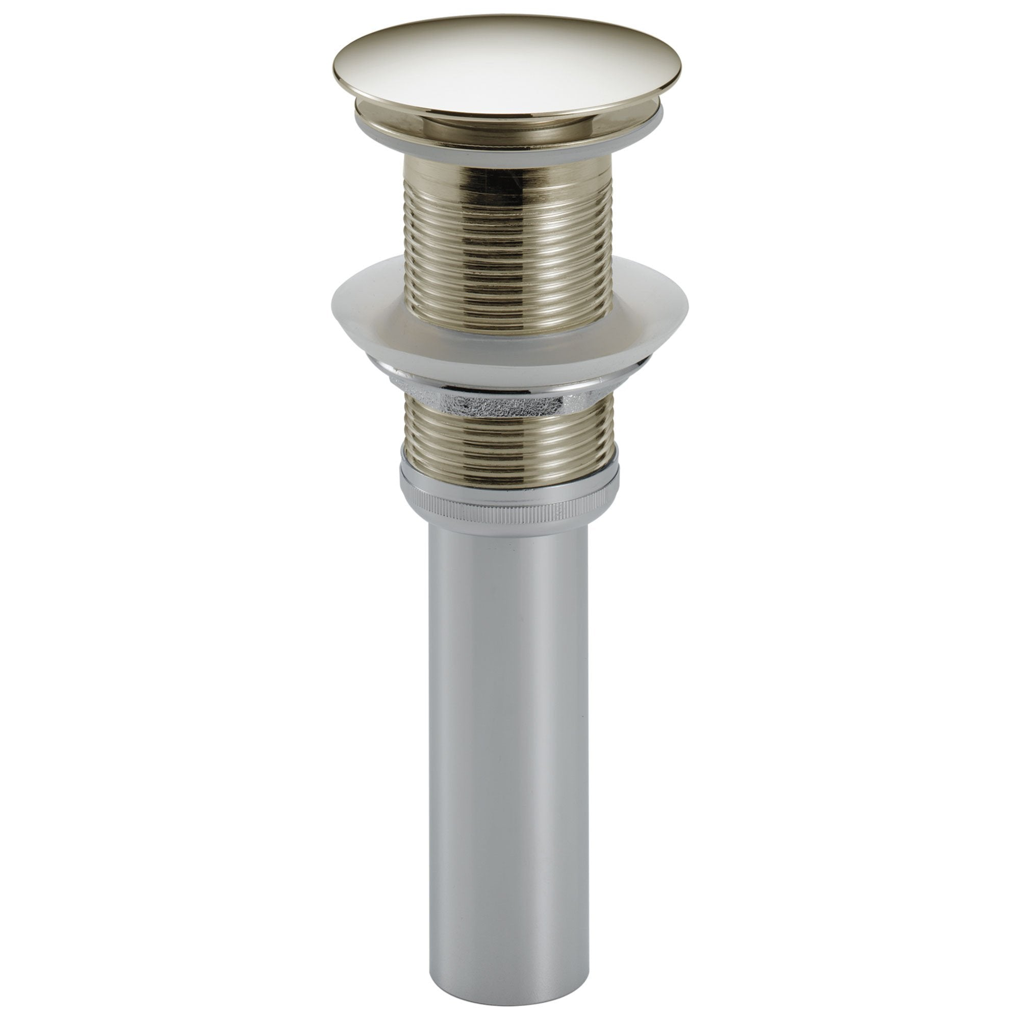 Delta Zura Collection Polished Nickel Finish Push Pop-Up Bathroom Sink Drain without Overflow D72172PN