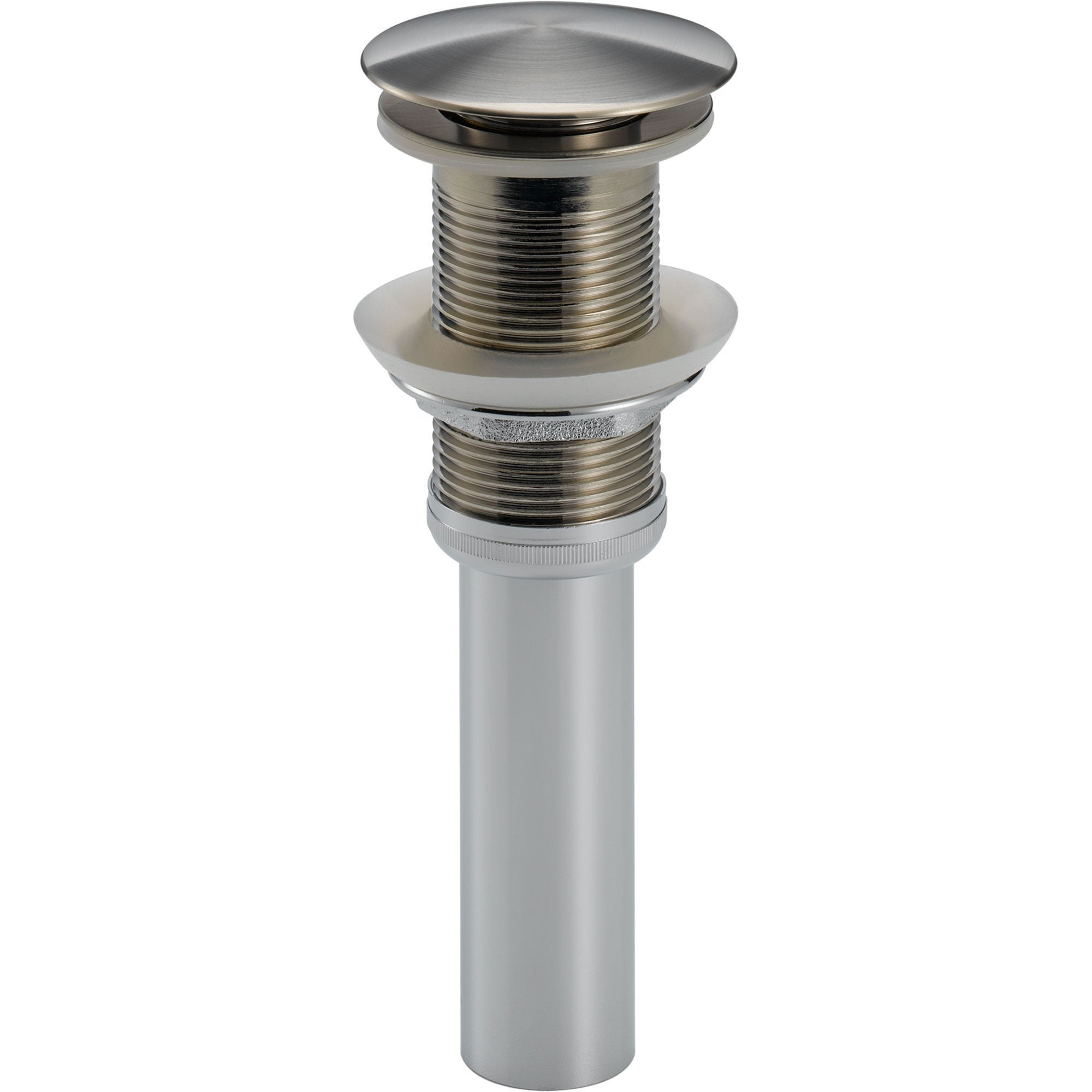 Delta Stainless Steel Finish Push Up Bathroom Sink Drain Without Overflow  609646