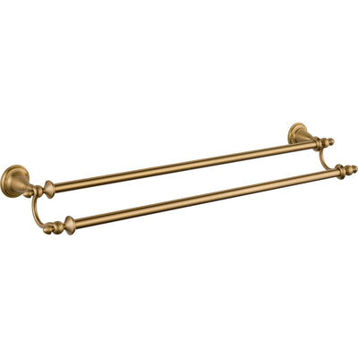 "Delta Victorian Champagne Bronze DELUXE Accessory Set: 24"" Single and Double Towel Bar, Paper Holder, Robe Hook, Towel Ring, Tank Lever D10093AP"
