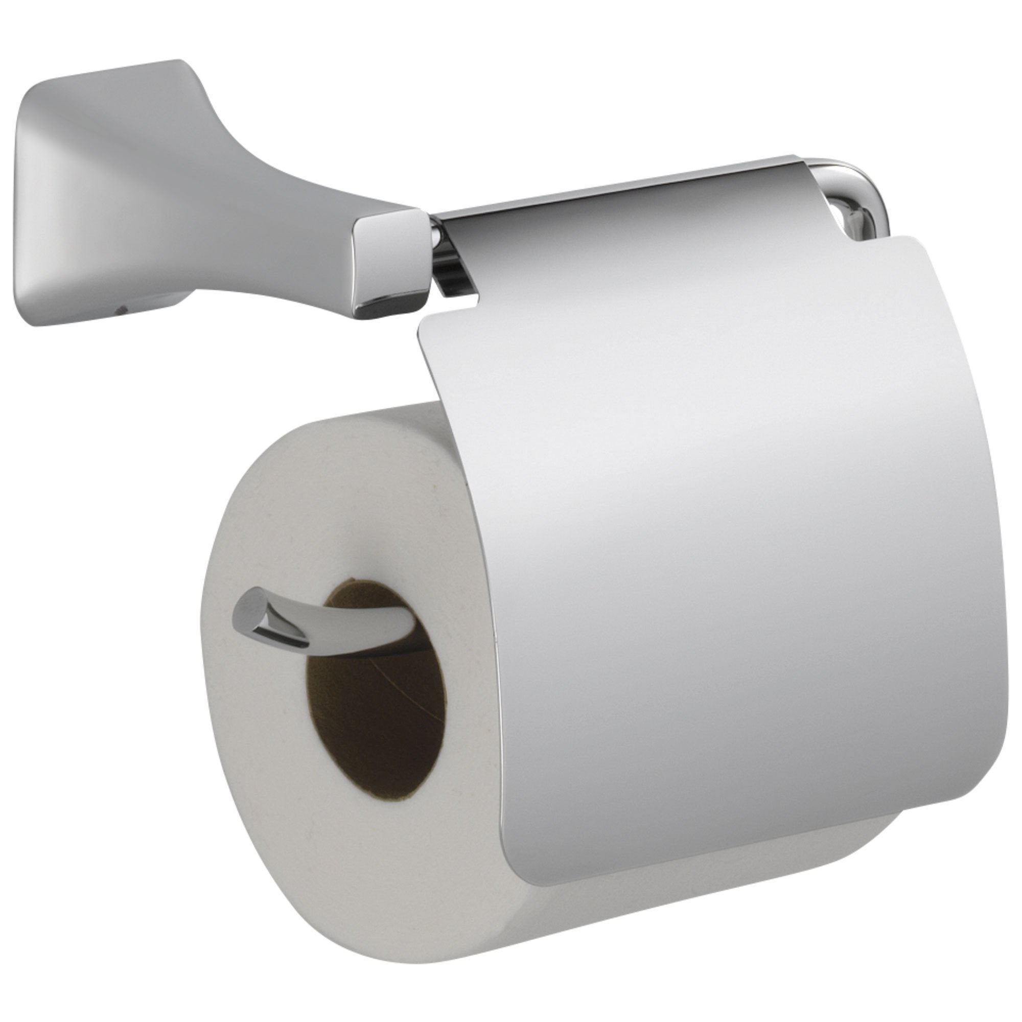 Delta Tesla Collection Chrome Finish Modern Toilet Paper Tissue Holder with Removable Cover 714273