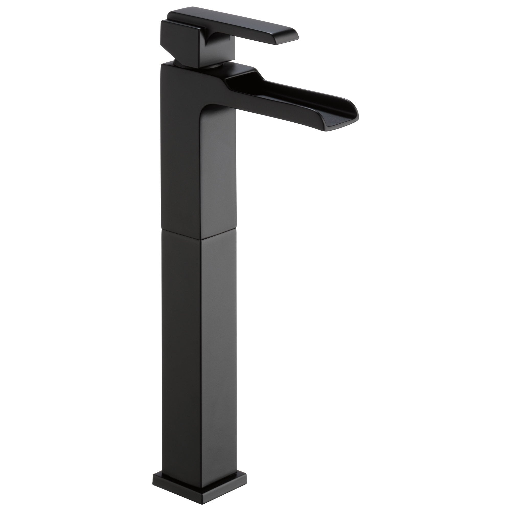 Delta Ara Collection Matte Black Finish Single Handle Tall Vessel Bathroom Lavatory Sink Faucet with Channel Spout D768LFBL