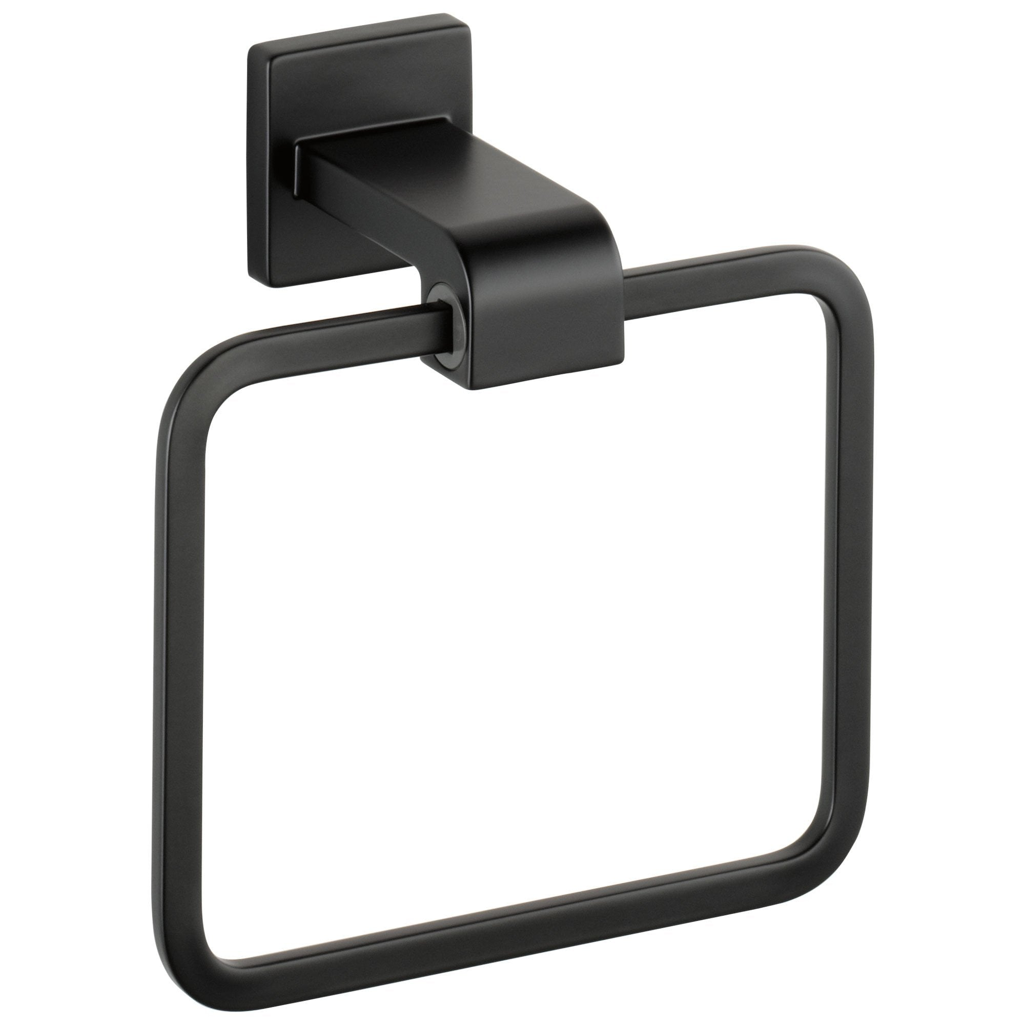 Delta Ara Collection Matte Black Finish Modern Wall Mount Rectangular Hand Towel Ring D77546BL