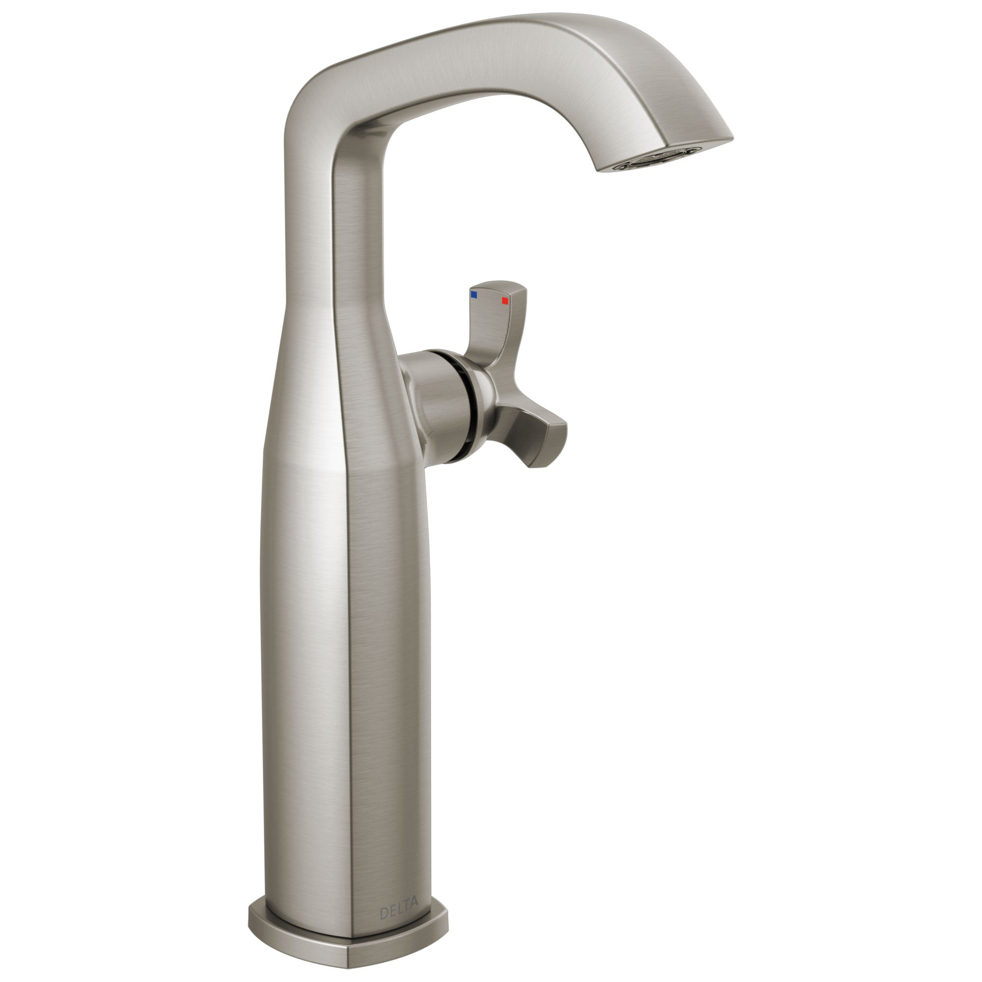 Delta Stryke Stainless Steel Finish Vessel Sink Faucet Includes Single Helo Cross Handle D3582V