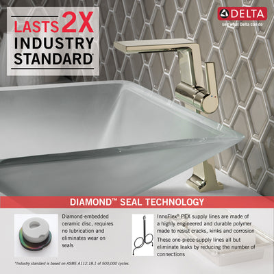 Delta Pivotal Polished Nickel Finish Single Handle Modern Vessel Bathroom Faucet D799PNDST
