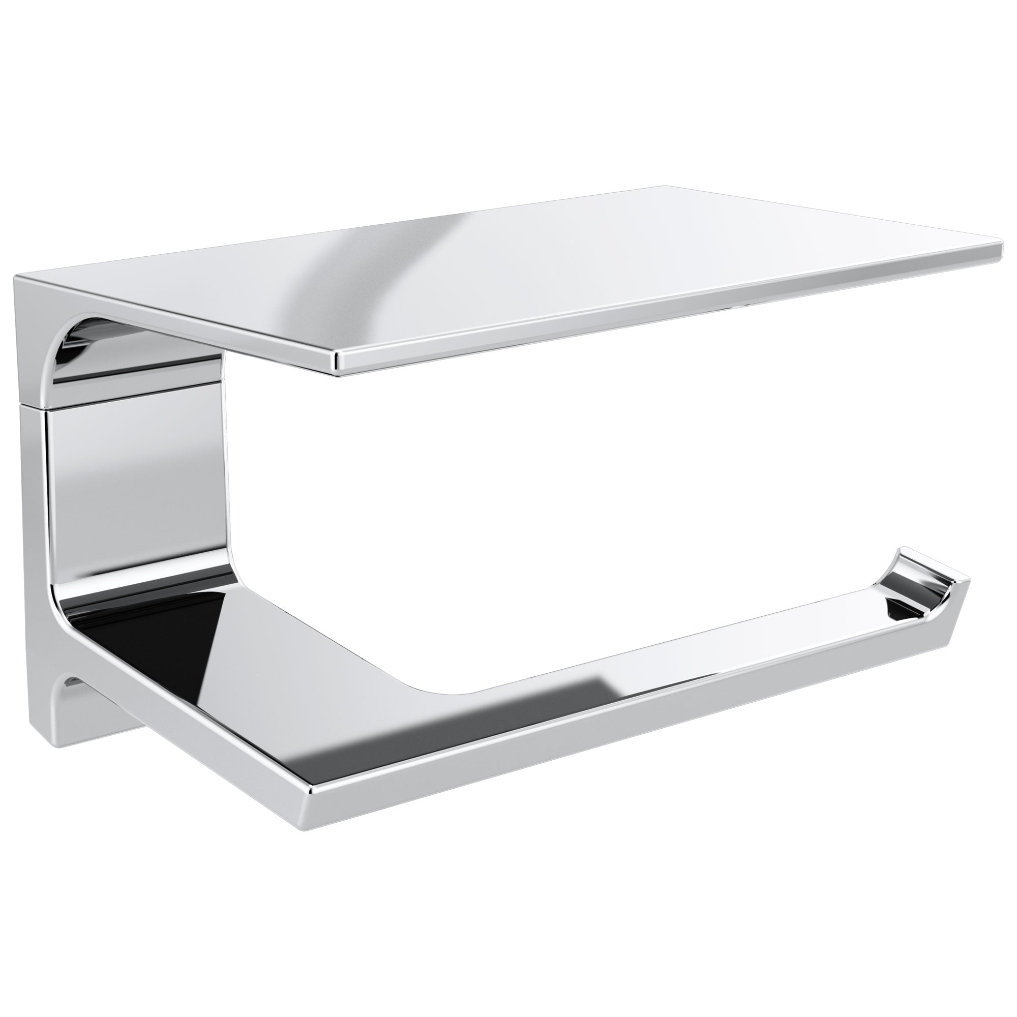 Delta Pivotal Chrome Finish Toilet Tissue Paper Holder with Shelf D79956