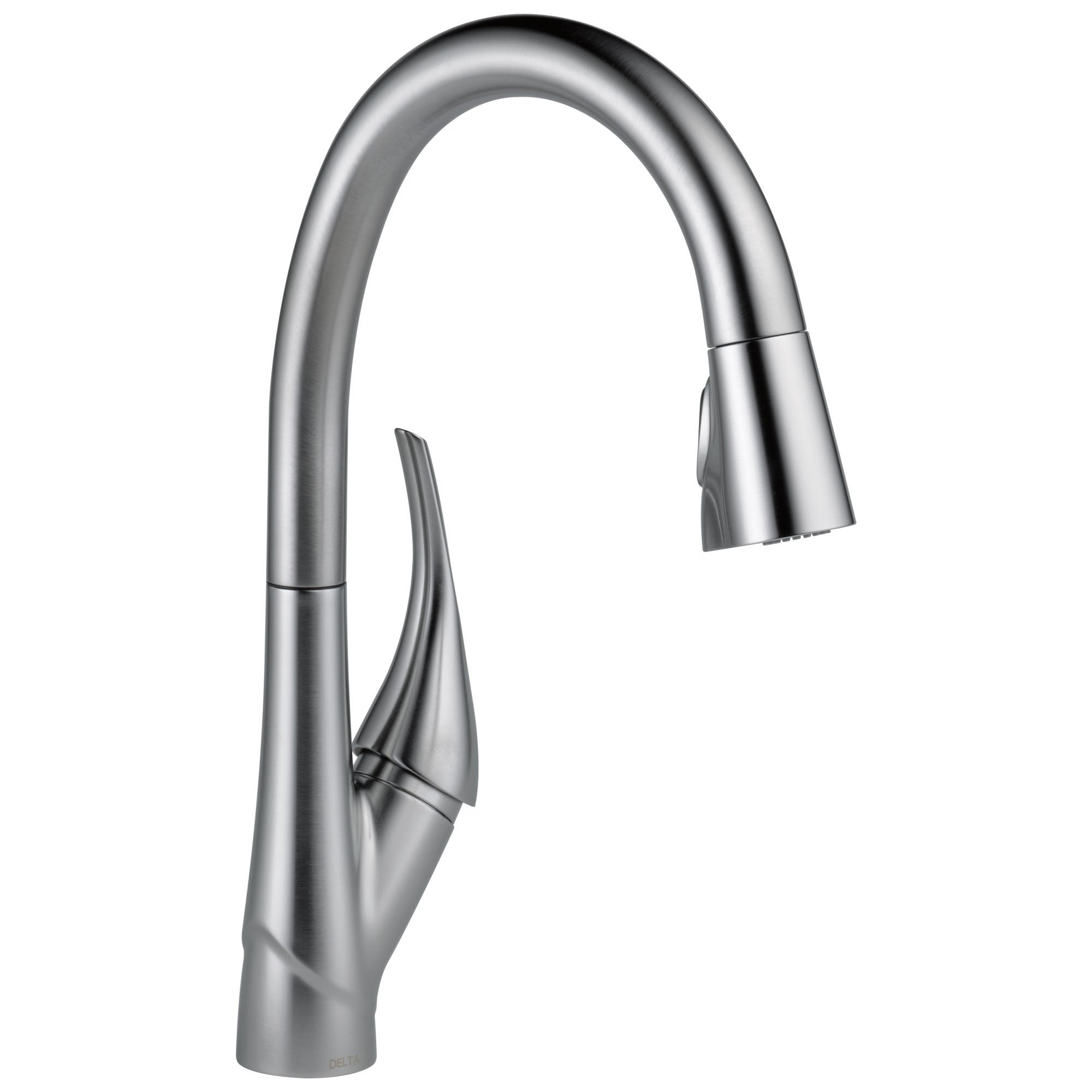 Delta Esque Collection Arctic Stainless Steel Finish Single Handle Swivel Spout One Hole Pull-Down Kitchen Sink Faucet D9181ARDST