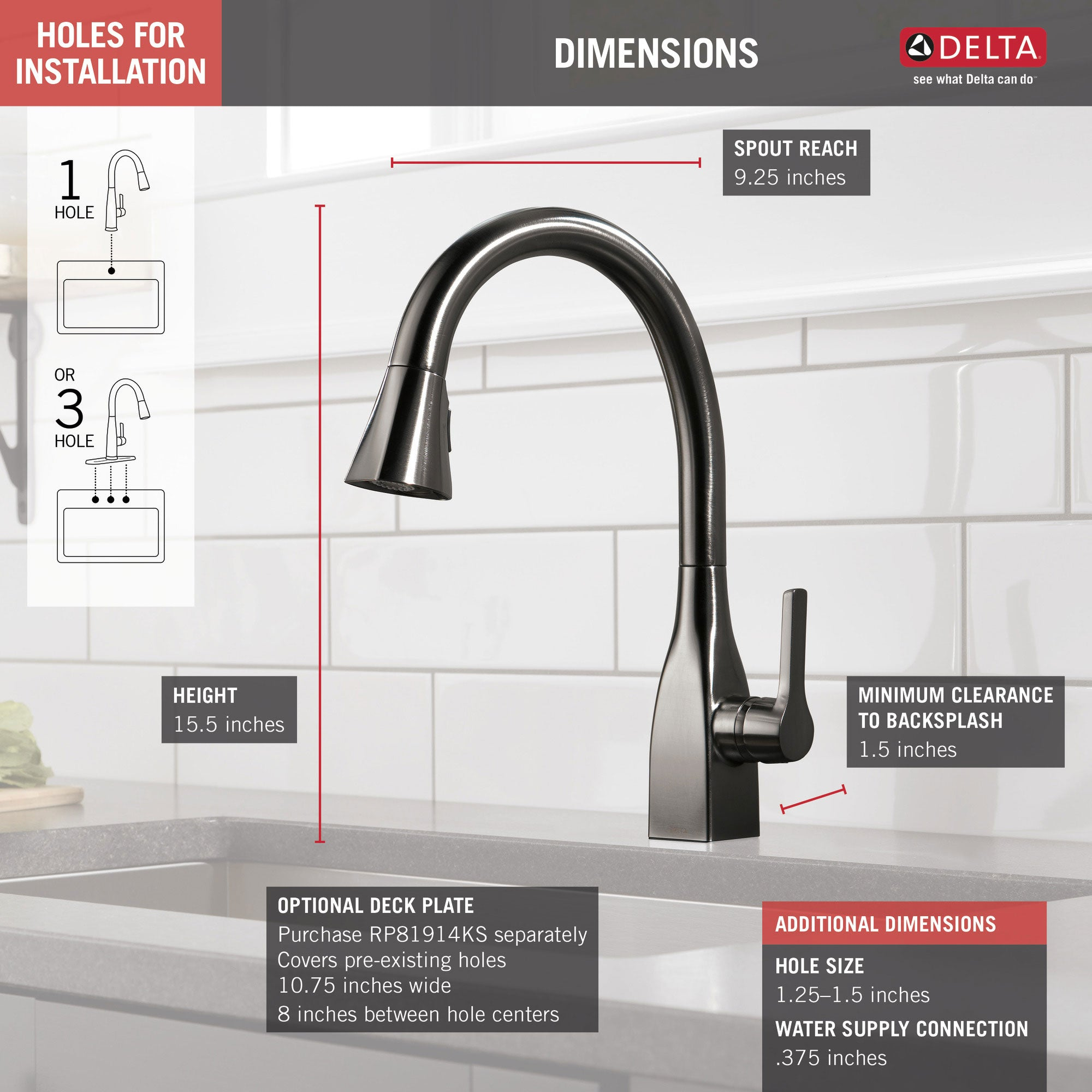 Delta Mateo Black Stainless Steel Finish Single Handle Pull Down Kitch Faucetlist Com