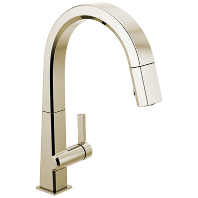 Delta Pivotal Polished Nickel Finish Single Handle Pull Down Kitchen Faucet D9193PNDST