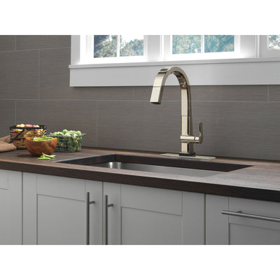 Delta Pivotal Polished Nickel Finish Single Handle Pull Down Kitchen Faucet with Touch2O Technology D9193TPNDST