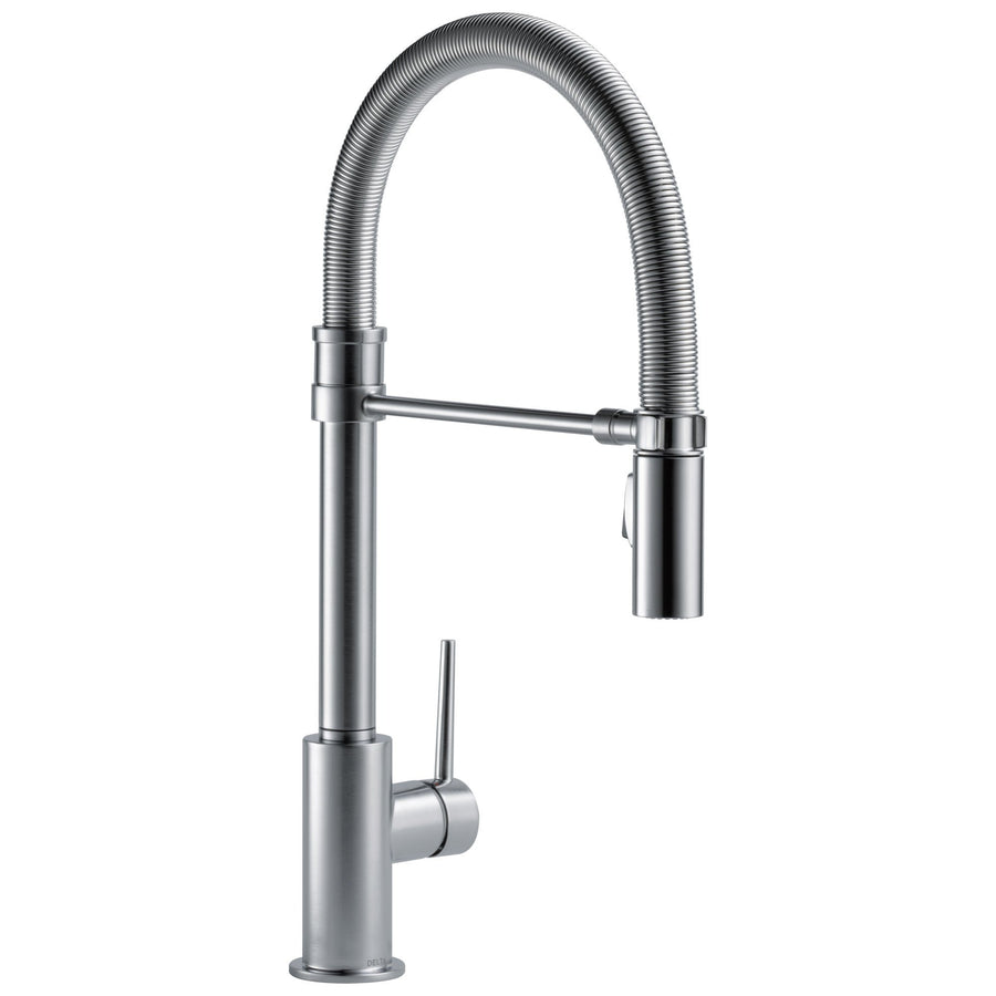 pre rinse kitchen faucets get a commercial style kitchen sink delta trinsic collection arctic stainless steel finish single handle pull down kitchen sink faucet with