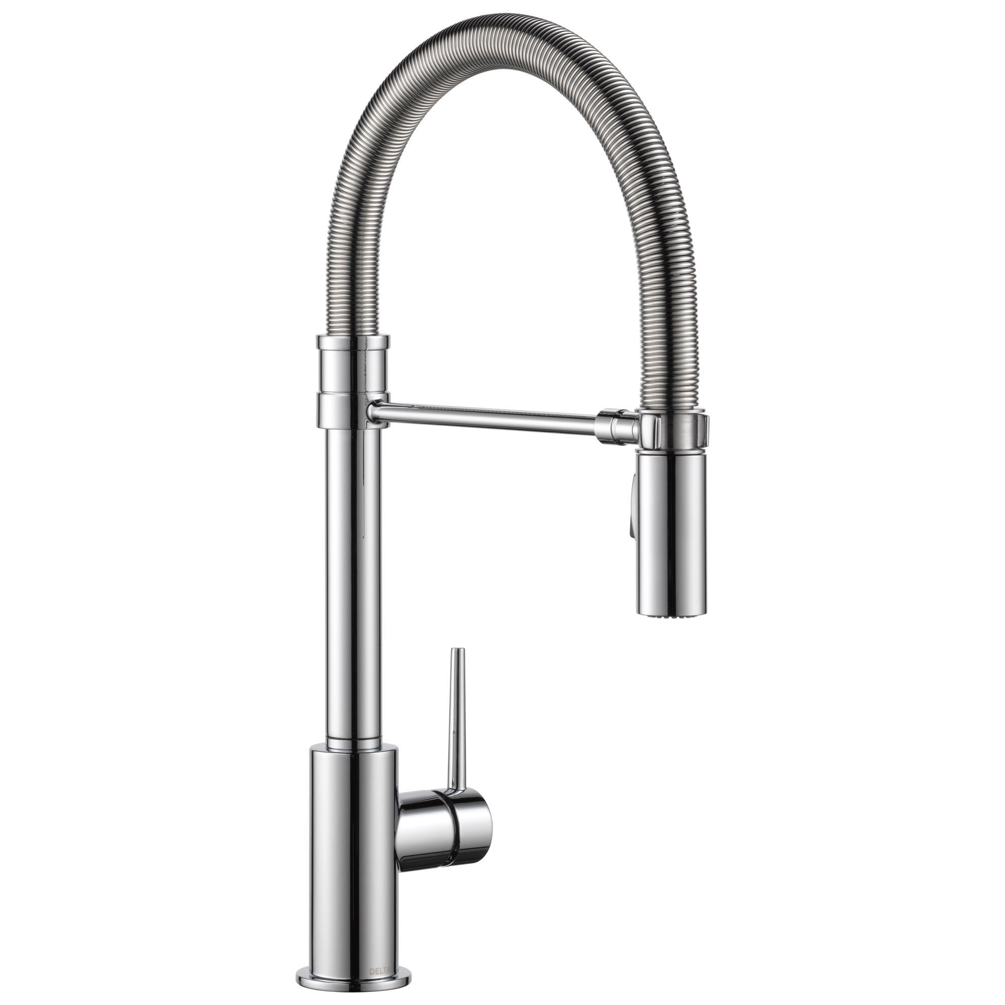Delta Trinsic Collection Chrome Finish Single Handle Pull-Down Kitchen Sink Faucet With Spring Spout 739275
