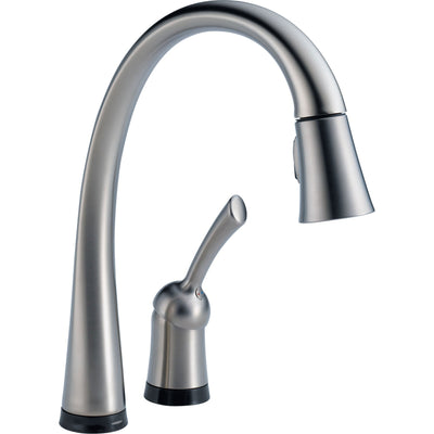 Delta Arctic Stainless Finish Pilar Collection Single Handle Pull Down Kitchen Faucet with Touch2O Technology and Soap Dispenser Package D030CR