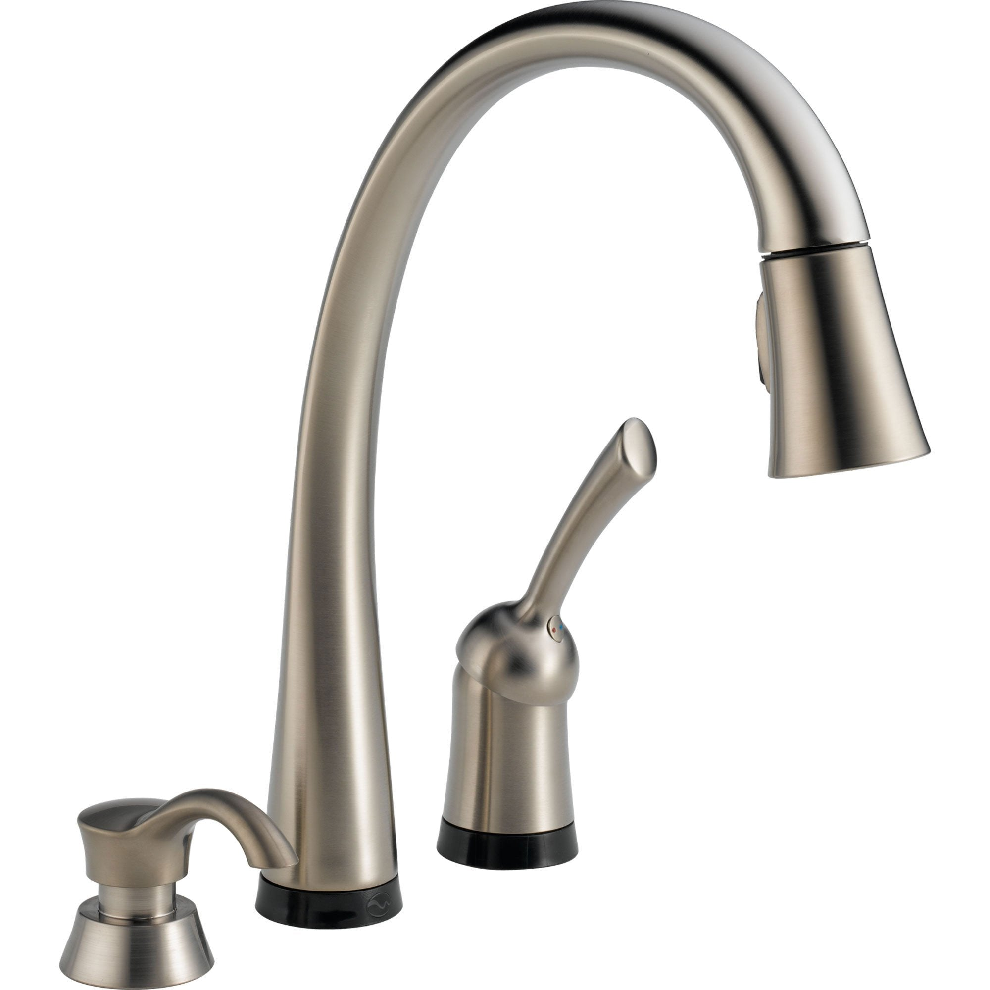 Delta Pilar Touch2O Steel Finish Pull-Down Sprayer Faucet w/Dispenser 460699