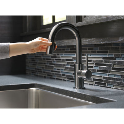 Delta Trinsic Black Stainless Steel Finish Single Handle Pull-Down Bar/Prep Sink Faucet D9959KSDST