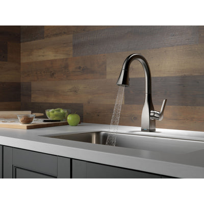 Delta Mateo Black Stainless Steel Finish Single Handle Pull-Down Bar/Prep Sink Faucet with Touch2O D9983TKSDST