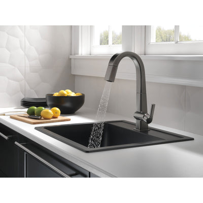 Delta Pivotal Black Stainless Steel Finish Single Handle Pull Down Bar/Prep Faucet D9993KSDST