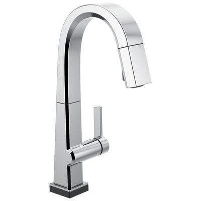 Delta Pivotal Chrome Finish Single Handle Pull Down Bar/Prep Faucet With Touch2O Technology D9993TDST