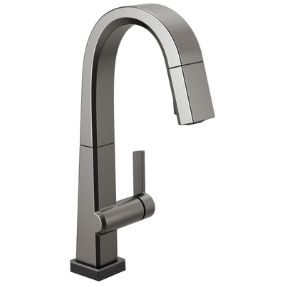 Delta Pivotal Black Stainless Steel Finish Single Handle Pull Down Bar/Prep Faucet With Touch2O Technology D9993TKSDST