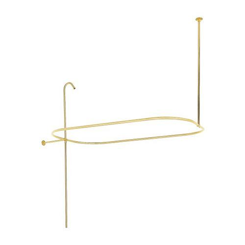 Polished Brass Oval Rectangle Shower Curtain Rod Ring Clawfoot Tub Enclosure 57