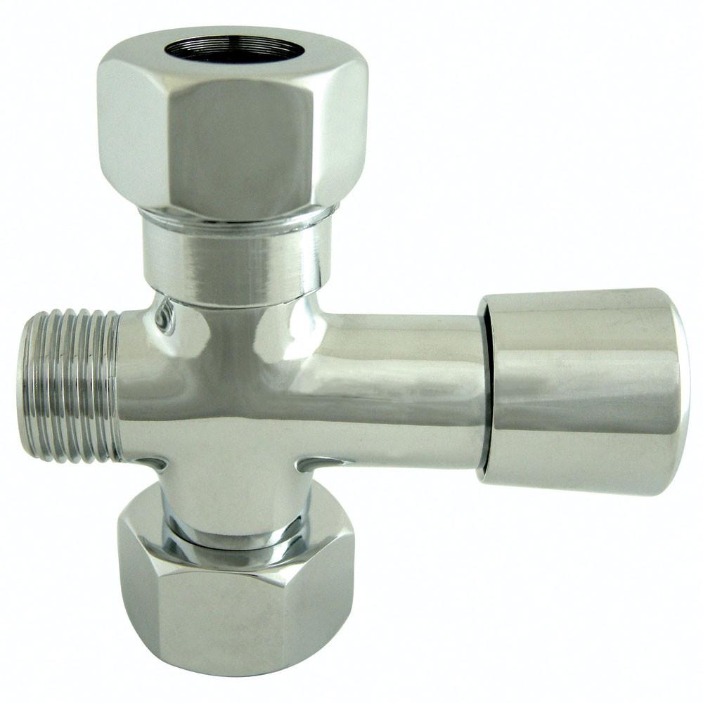 Kingston Chrome Shower Diverter with button for use with Clawfoot tub Faucet