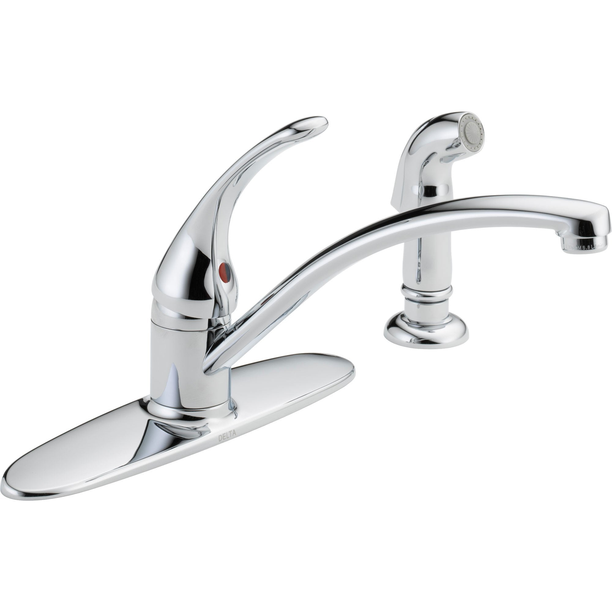 Amazing Delta Foundations Single Handle Chrome Kitchen Faucet With Side Sprayer 550058 Beutiful Home Inspiration Xortanetmahrainfo
