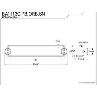 "Bathroom Accessory Polished Brass 24"" Double Towel Bar Dual Towel Rack BA1113PB"