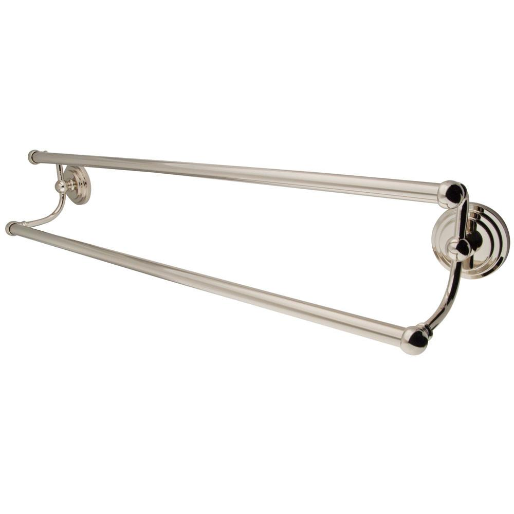 "Bathroom Accessories Polished Nickel 24"" Double Dual Towel Bar Rack BA2713PN"