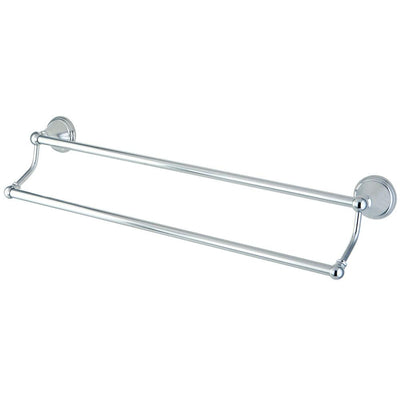 "Kingston Brass Silver Sage Chrome 24"" Dual Double Towel Bar Rack BA2973C"