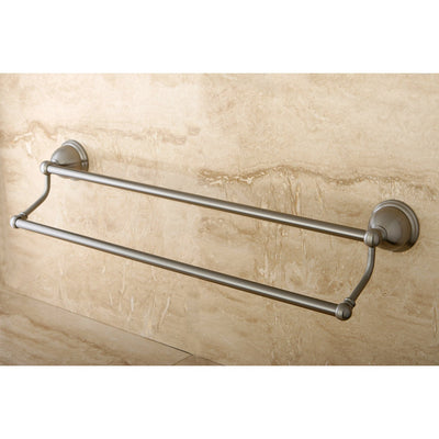 "Bathroom Accessories Satin Nickel 24"" Double Towel Bar Dual Towel Rack BA3963SN"