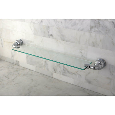 Kingston Brass Chrome Magellan wall mounted bathroom glass shelf BA609C