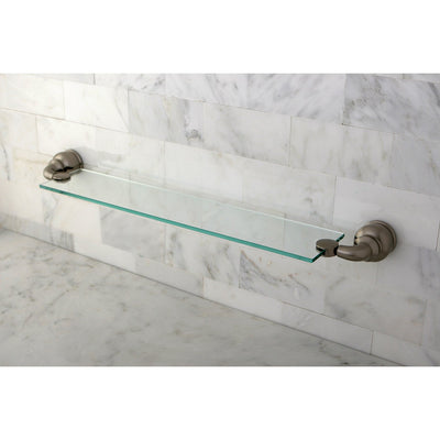 Kingston Brass Satin Nickel Magellan wall mounted bathroom glass shelf BA609SN